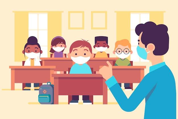 クラスでマスクを身に着けている教師と生徒
