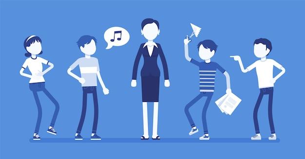 Учитель раздражен с непослушными детьми. плохое поведение подростков раздражает взрослую женщину, провоцирует нетерпение, вызывает плохие эмоции, никакого уважения, вежливости в школьных отношениях. иллюстрация, безликие персонажи