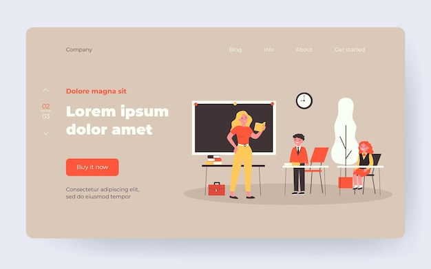 Teacher asking pupil in class. lesson, kids in uniform, classroom flat vector illustration. back to school, education, teaching concept for banner, website design or landing web page