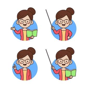 Учитель аватар портрет изолированные