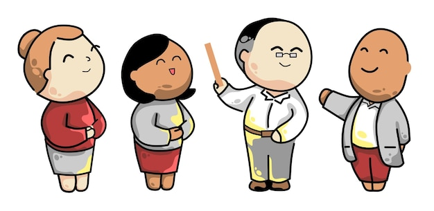 Teacher back to school cartoon illustrations