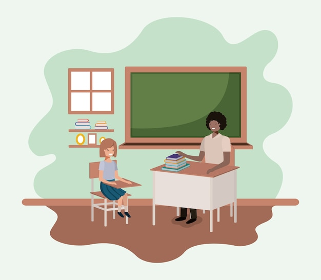 Teacher black in the classroom with students vector illustration design