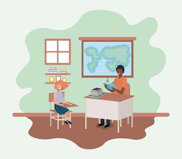 Teacher black in the geography class with students vector illustration