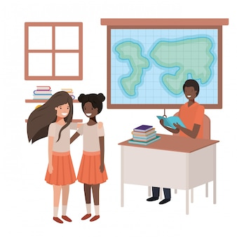 Teacher black in the geography class with students