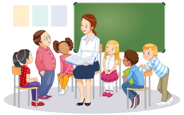 Teacher at blackboard in classroom with children. cartoon vector isolated illustration.