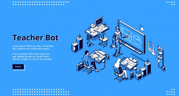 Teacher bot isometric landing page. cyborg tutor