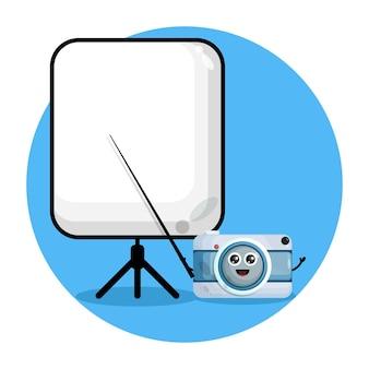 先生のカメラかわいいキャラクターのロゴ