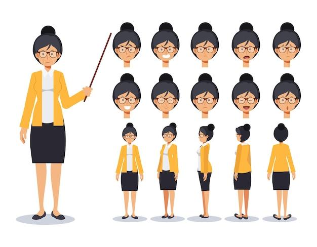 さまざまなビューを備えた教師のキャラクター作成セット