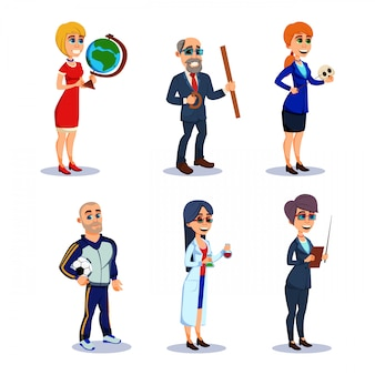 Teacher characters in various subjects at work.