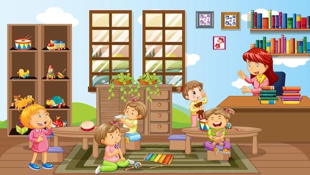 A teacher and children in kindergarten room scene