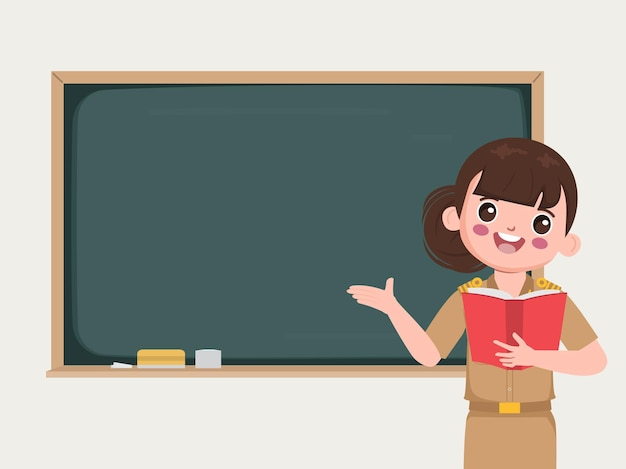 Teacher in classroom pointing to chalkboard