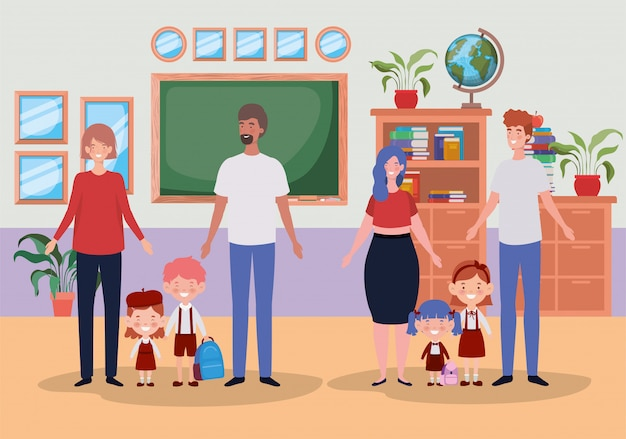 Teacher couple with little students kids in the classroom