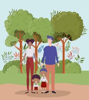 풍경에 작은 학생 아이들과 교사 부부