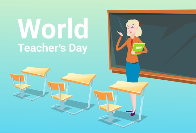 Teacher day holiday woman school class board