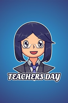 День учителя логотип иллюстрации шаржа
