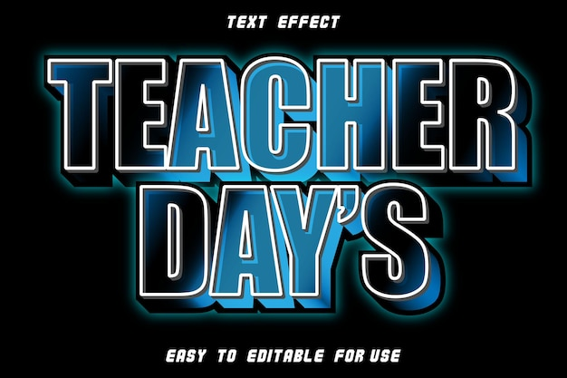 Редактируемый текстовый эффект дня учителя с тиснением в современном стиле