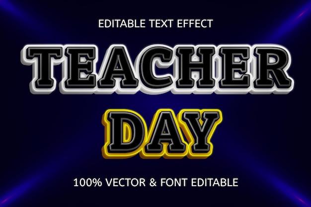 Неоновый редактируемый текстовый эффект в стиле дня учителя