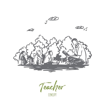 Teacher, education, knowledge, lesson concept. hand drawn male teacher and pupils sitting outdoor concept sketch.
