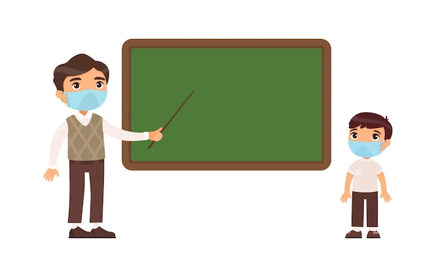 Teacher and elementary school pupil with protective masks on their faces flat  illustration. teacher male and school boy standing at blackboard.