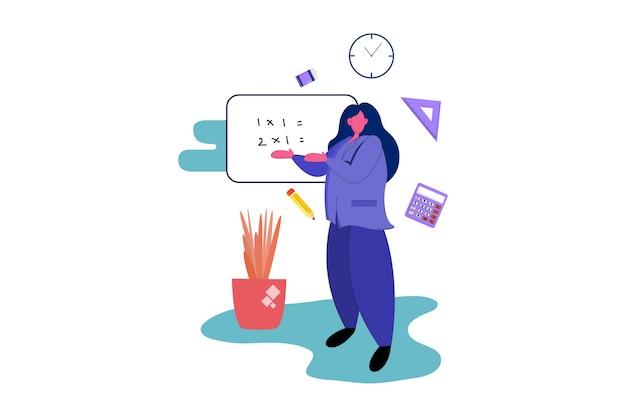 Teacher explain in front students web illustration