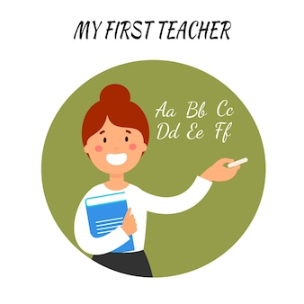 Teacher explaining abc flat vector illustration