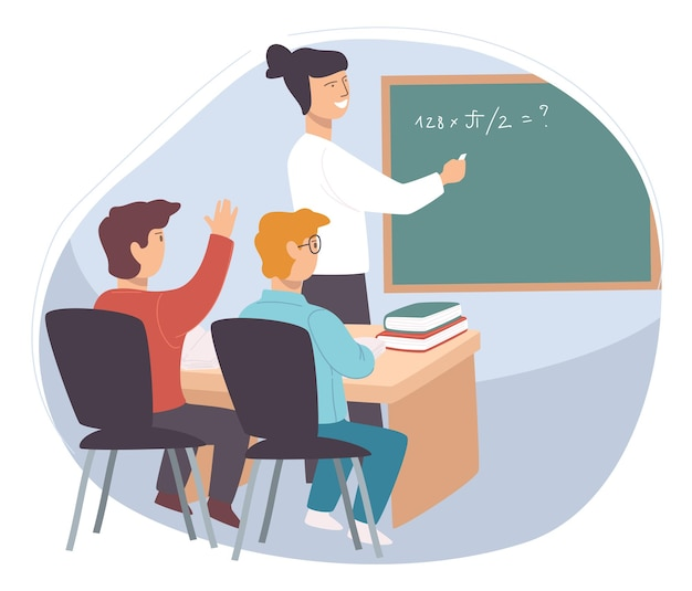 授業で生徒にしつけを説明する先生
