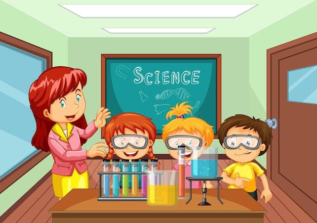 교실에서 학생들에게 과학 실험을 설명하는 교사 프리미엄 벡터