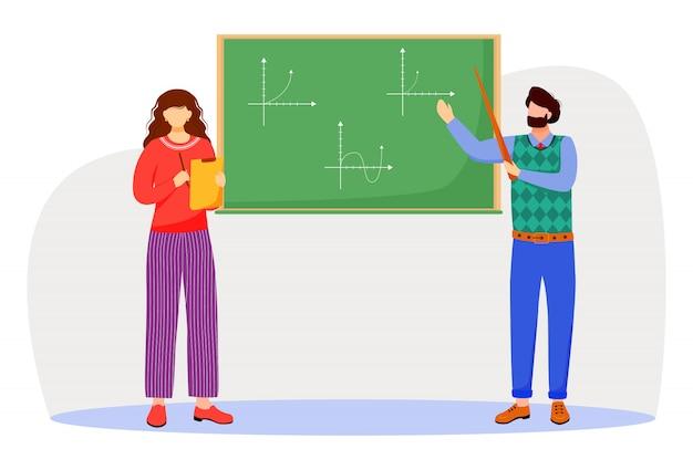 先生は、黒板の平らな図に数学グラフを説明します。大学、学校での勉強過程。数学を学ぶ。教授と学生は白い背景の上の漫画のキャラクターを分離