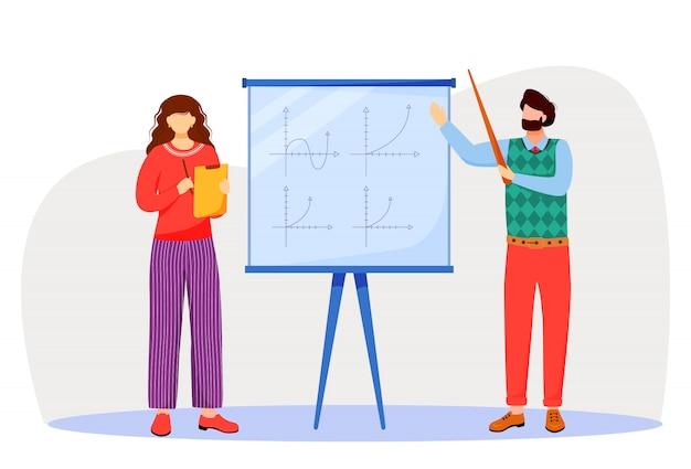 先生は、ホワイトボードの図に数学グラフを説明します。大学、学校での勉強過程。数学を学ぶ。白い背景の上の教授と学生の漫画のキャラクター