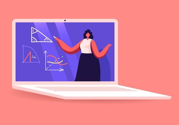 교사 여성 캐릭터 노트북 화면에서 기하학 또는 수학 수업을 수행합니다.