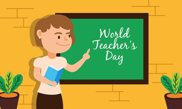 Teacher female worker character vector illustration design