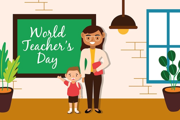 Teacher female worker with schoolboy vector illustration design