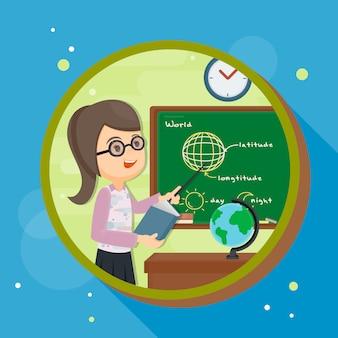Teacher in front of blackboard teaching student in classroom at school.