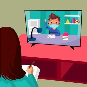 교사는 코로나 바이러스 전염병 때문에 집에서 공부하는 동안 학생에게 온라인 수업을 제공합니다