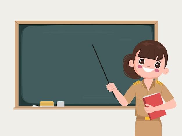 칠판을 가리키는 교실에서 교사