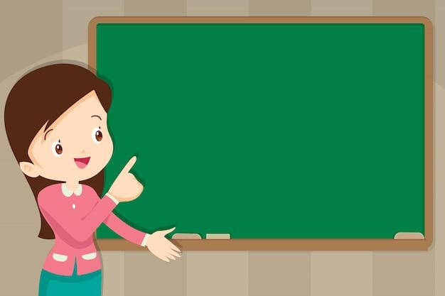 あなたのテキストのコピースペースを持つ黒板の前の先生