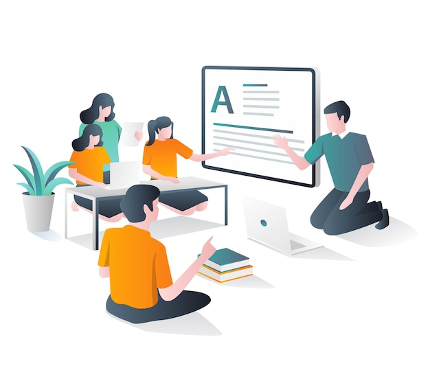 Teacher is teaching children in class in isometric illustration