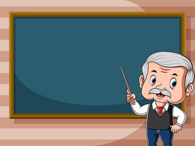 Teacher is teaching in front of class beside black board