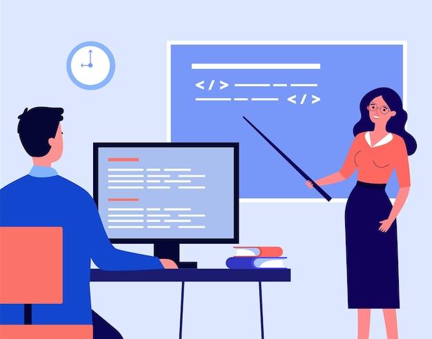 Учитель, ведущий урок плоской векторной иллюстрации. женщина, стоящая у доски с указателем и студентом, слушающим лекцию, сидя за компьютером. компьютер, наука, урок, лекция, концепция образования