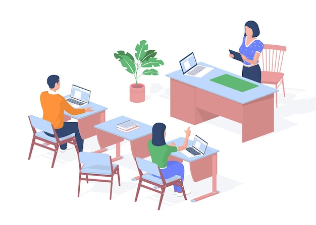 Teacher lectures in modern classroom. students sitting desks with laptops and books. woman with tablet is leading lesson. developing lesson with creative discussions. vector realistic isometry