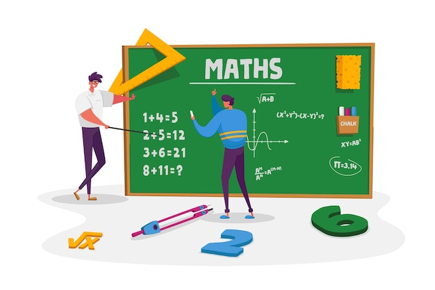 Teacher male character explain mathematics or physics formula written with chalk on blackboard to young man student. higher education in university or college. cartoon people