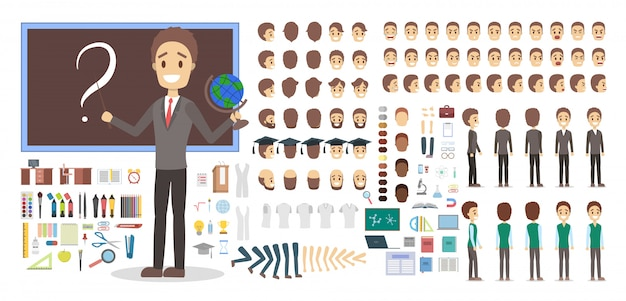 Teacher male character in uniform set or kit for animation with various views