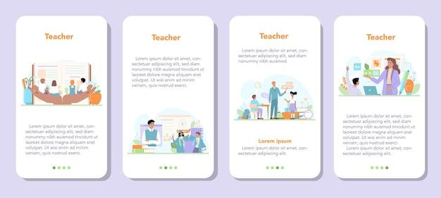 교사 모바일 응용 프로그램 배너 세트입니다. 온라인 강의를 하는 교수