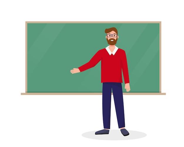 Учитель возле школы черная доска добро пожаловать обратно в школу концепции