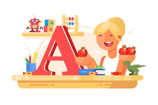 Учитель младших классов на уроке. иллюстрация концепции образования.