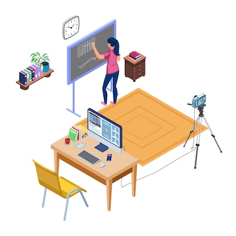 Teacher do online learning and write in the blackboard. set of live streaming education concept with camera and computer. distance studying. isometric live recording.