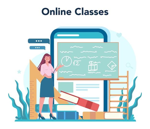 교사 온라인 서비스 또는 플랫폼. 칠판 앞에 서있는 교수. 학교 또는 대학생. 온라인 성적표.