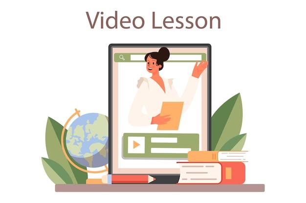 教師のオンラインサービスまたはプラットフォーム。教室で授業をしている教授。学校または大学の労働者。教育のアイデア。ビデオレッスン。フラットベクトル図