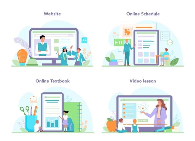 교사 온라인 서비스 또는 플랫폼 집합입니다. 온라인이나 교실에서 수업을 하는 교수. 학교 또는 대학 노동자. 온라인 일정, 교과서, 비디오 수업, 웹사이트. 평면 벡터 일러스트 레이 션
