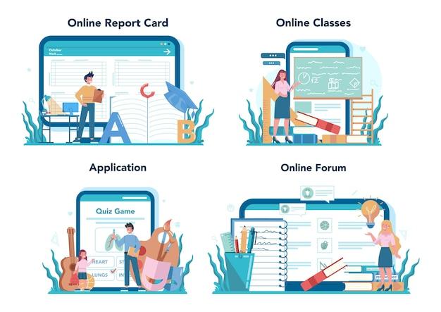 Teacher online service or platform set. profesor standing in front of the
